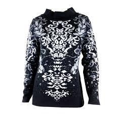 Icelandic Design Icelandic Design Iman Black Floral Merino Wool Mock Turtleneck Sweater Small