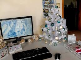 Tiny Christmas Tree On Desk Doing Fuck All For Office