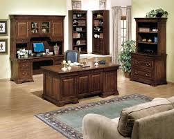 classic home office desk. Office Satisfying Luxury Home Design With Brown Wooden Classic Furniture And Grey Fabric Sofa Plus Laminate Desk F