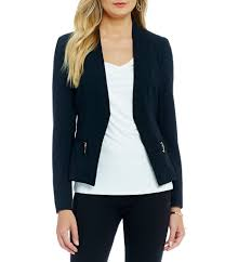 ivanka trump zip pocket open front crepe jacket