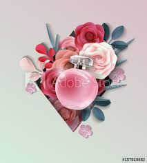 Paper Flower Perfume Beautiful Realistic Perfume Bottle On The Background Of Beautiful