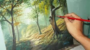 acrylic landscape painting lesson forest trees by jmlisondra