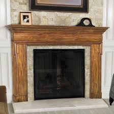 interior brown wooden fireplace mantel with shelf and white hearth awesome look of wooden