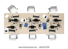 designer office desk isolated objects top view. Office Table Group Work Top View Isolated On White. 3d Rendering Designer Desk Objects F