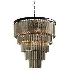smoked glass chandelier 5 tier iron round fringe crystal smoked glass chandelier smoked grey glass chandelier