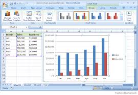 Ms Excel 2007 How To Create A Column Chart