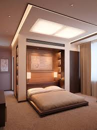 Bedroom:Impressive Space Room For Ceiling Mounted Bed With Grey Wall Paint  And Wooden Floor