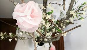 Paper Flower Branches Easy Tissue Paper Flowers For Spring Branches 1915 House
