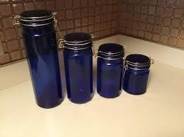 cobalt blue glass canister set of 4 wire bale closure pasta jars