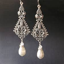 stunning vintage bridalgs silver filigree antiqued pearl chandelier gold swing