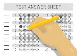Answer Test Hand With Pencil Filling Out Answers On Exam Test Answer Sheet
