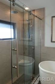 frameless rolling shower door system with ss hardware and ladder pull handle