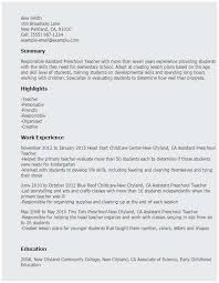 Sample Resume For Daycare Teacher Examples Child Care Assistant