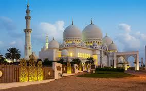 sheikh zayed grand mosque evening night lights abu dhabi clear hd