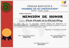 formato mencion de honor