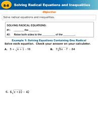 ppt solve radical equations and