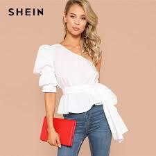 Sheinside Elegant Contrast Eyelash Lace Trim Blouse Women 2019 ...