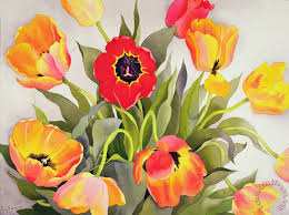 orange and red tulips painting christopher ryland orange and red tulips art print