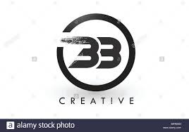 Bb Brush Letter Logo Design With Black Circle Creative