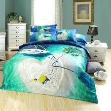 beach themed tropical hawaiian 100 cotton 3d heart shaped island blue ocean seagreen palm tree designer queen size bedding set cotton home