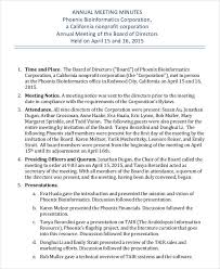 corporate annual meeting minutes sample annual meeting minutes template 9 free pdf documents download
