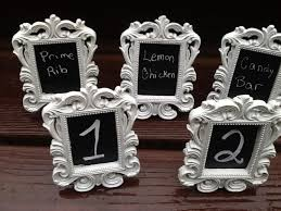 set of 5 white or black mini chalkboard table number frames wedding decor formal place setting buffet line