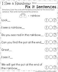 Punctuation For Kindergarten Worksheets Free Collection Of