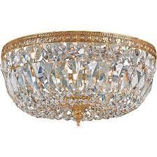 crystorama 712 ob cl i 3 light clear italian crystal brass flush mount