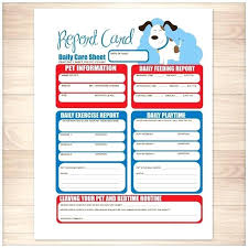 Pet Sitting Report Card Template Sitter Free Spitznas Info