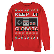 Nintendo Ugly Christmas Sweater NES Classic Controller Mens Graphic Sweatshirt