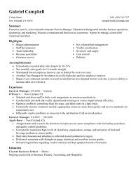 Hotel General Manager Resume Template Extraordinary Restaurant Assistant Manager Resume Radiovkmtk