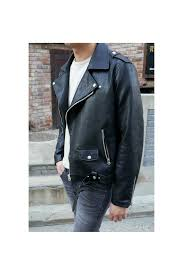 black synthetic leather motorcycle biker jackets for men loading zoom