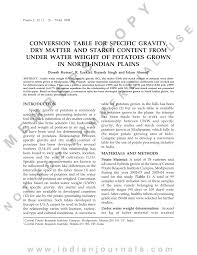 Pdf Conversion Table For Specific Gravity Dry Matter And