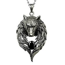 OAT CHOCO Men Necklace Wolf Pendant Personality Cool ...