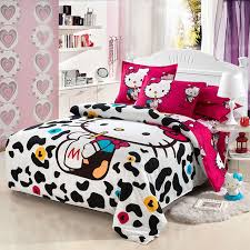 o kitty bedding set kids cartoon red black white stripes polyester tawin full queen size bed
