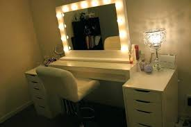 wood makeup vanity furniture white wooden table with lighted mirror added by drawers and lights