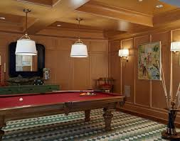 pool table room family room beach style with green rug leather club chairs