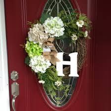 initial wreaths for front doorInitial Wreath Hydrangea Wreath Welcome Wreath Front Door