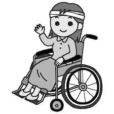 車椅子の女性モノクロ車椅子6介護医療無料イラスト素材