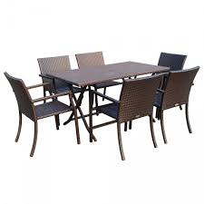 7pcs cafe square back chairs and folding wicker buffet table set