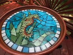 how to make a mosaic seahorse birdbath