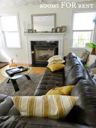 Leather Sofa Makeover How To Style A Dark Leather Sofa Den Makeover Beneath My Heart The