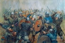 The Viking clash Painting by Arturas Slapsys