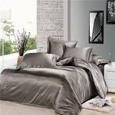 7 piece gray silky satin duvet cover sheet zipper closure set queen size