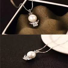 crystal silver plated charm freshwater baby pearl necklace angel pendant chain