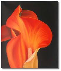 fire calla lily flower painting fl canvas modern art