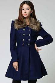 womens plain double ted faux fur collar woolen coat navy blue pink queen