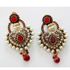 picture of antique gold plated red n white pearls hangings 48272