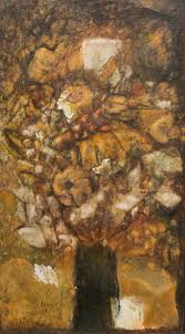 """Sold Price: Francis Skinner (1902-1983), """"Night Blooms"""", 1962, oil on  board, 48 x 27"""" - Invalid date CST"""