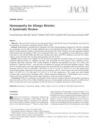 PDF) Homeopathy for Allergic Rhinitis: A Systematic Review